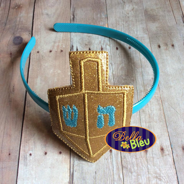 ITH in the hoop Hanukkah Dreidel Headband Slider Topper machine embroidery