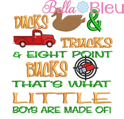 Ducks Trucks & 8 Point bucks reading pillow embroidery saying with Vintage Red truck, duck and some buck shots embroidery design