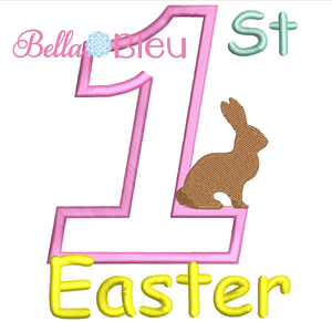 1st Easter - Bunny Applique Embroidery Design SL
