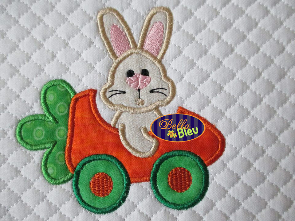 Adorable Easter Bunny Driving a Carrot Car Machine Embroidery Applique Design