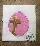 Religious Easter Egg with Cross Applique Machine Embroidery design