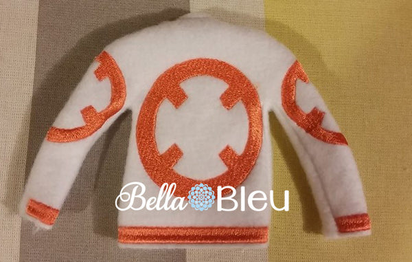 ITH In the hoop Inspired BB8 Star Wars Elf Sweater Shirt Machine Embroidery Design