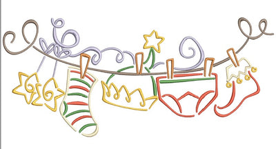 Christmas Elf Clothes Line Swag Machine Embroidery Design