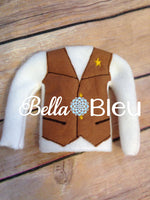 ITH In The Hoop Elf Inspired Woody Cowboy Sheriff Shirt Vest Sweater Embroidery Design