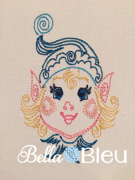 Adorable Elf Girl Colorwork Embroidery Colorwork Redwork design machine embroidery