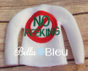 "ITH In The Hoop Elf ""No Peeking"" Christmas Sweater Shirt Machine Embroidery design"