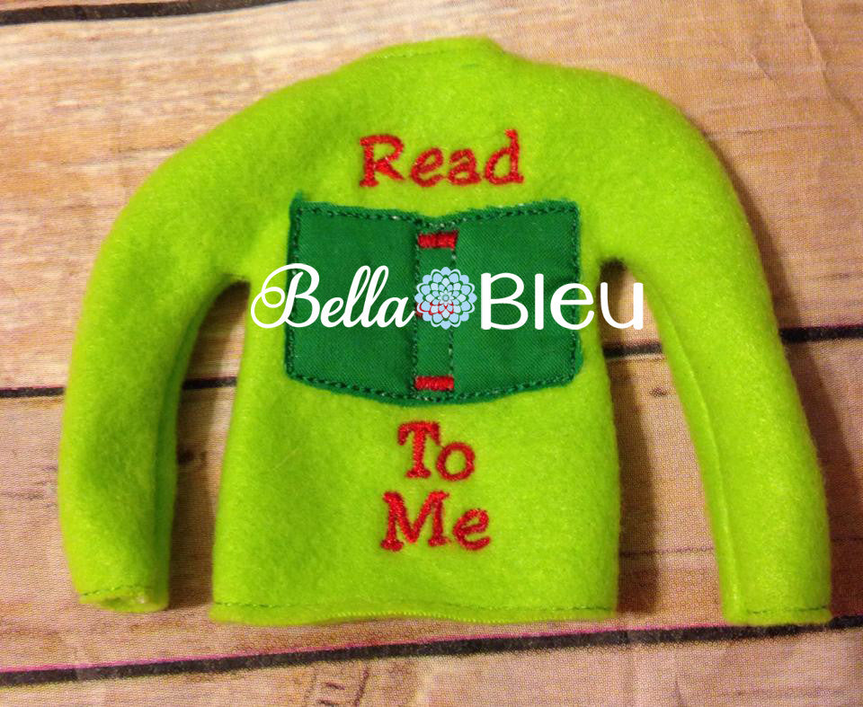 "ITH In The Hoop Elf ""Read To Me"" Sweater Shirt Machine Embroidery Design"