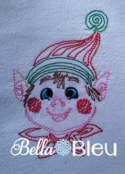 Beautiful Christmas Holiday Boy Elf quick stitch Colorwork Redwork Machine embroidery design