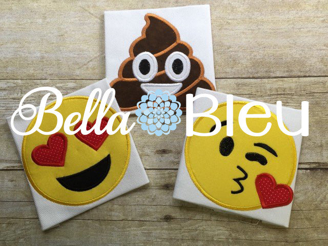 Emoji Poo Poop Kisses and Love Faces set of 3 embroidery applique designs