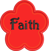 Faith Flower Religious Machine Applique Embroidery Design