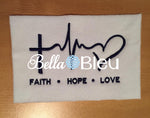 EKG Faith Hop Love Embroidery Design