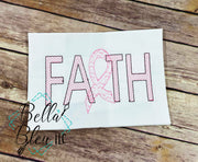 Faith Ribbon Cancer Awareness Sketchy Motif fill