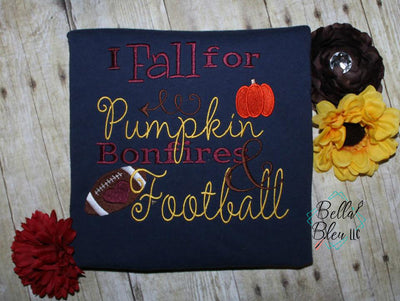 Fall Football Saying Embroidery Design - Pumpkin Football Bonfires Embroidery