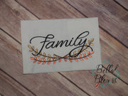 Family with Branch Saying Machine Embroidery 5x7