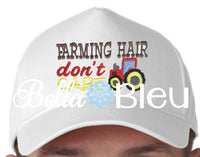 Farming Hat don't care with tractor baseball hat cap machine embroidery design