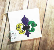 Mardi Gras Fleur de Lis filled Machine Embroidery design