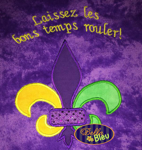 Mardi Gras Fleur de Lis Applique Machine Embroidery Design