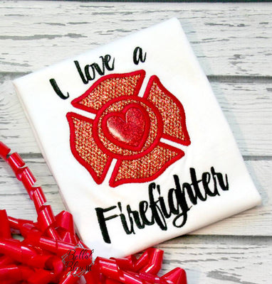 I love Firefighter badge Machine Applique Embroidery design 7x11