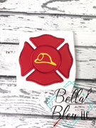 Fireman Firefighter badge with helmet Machine Applique Embroidery design