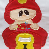 Fireman Baby with Daddy's Hat Machine Applique Embroidery Design