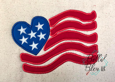 Heart Flag Applique 4th of July