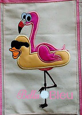 Flamingo wearing a Duck Donut Machine Applique Embroidery Design