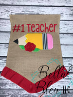 Back to School Pencil with flowers applique machine embroidery design