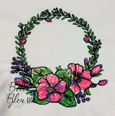 Floral Wreath Sketchy Scribble