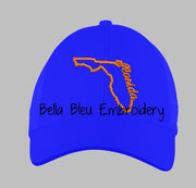State of Florida with Signature Florida baseball hat cap machine embroidery design