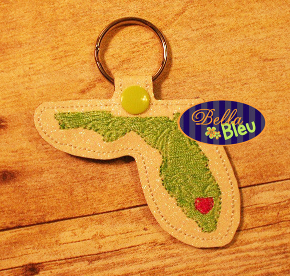 Florida Palm Tree filled key chain key fob in the hoop machine embroidery design