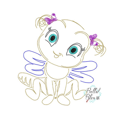 Quick Stitch Girl Fly Insect Bug Machine Embroidery Design COLORWORK