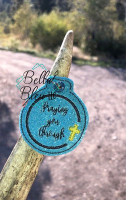 ITH Praying you through key fob & bag tag machine embroidery design