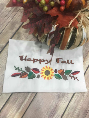 Happy Fall Thanksgiving Fall Sunflower Border Machine Embroidery 5x7