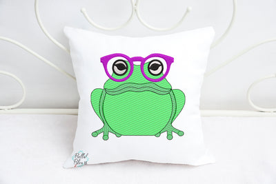 Sketchy Frog with Glasses Machine Embroidery design