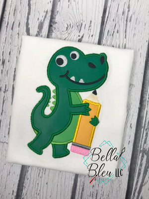 Alligator Gators holding Pencil back to school machine embroidery design