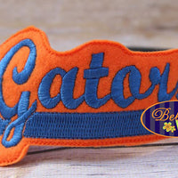 ITH in the hoop Gators Sports Headband Slider Topper machine embroidery