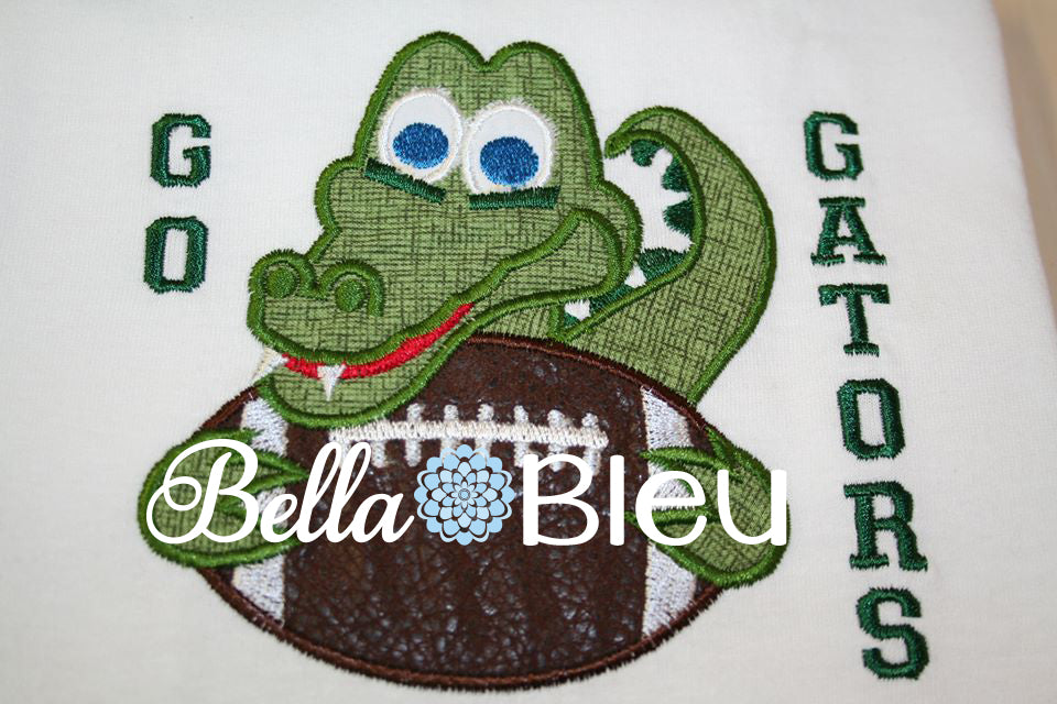 Gators Football Mascot, Alligator Football Mascot Applique Machine embroidery design