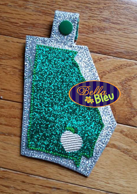 ITH in the hoop State of Georgia Key fob luggage tag machine embroidery  design