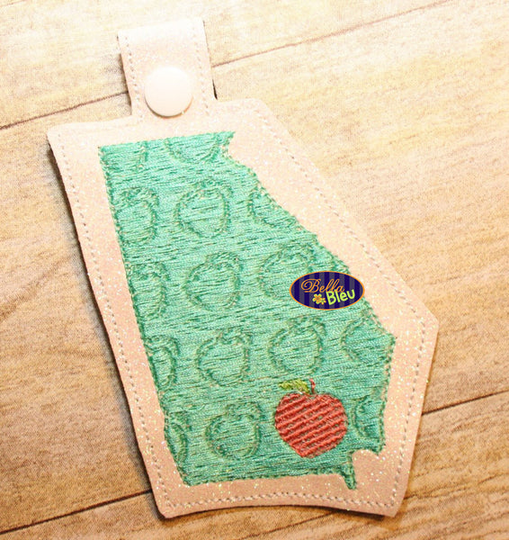 Georgia State Peach filled key fob key chain machine in the hoop embroidery design