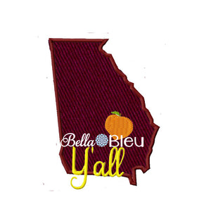 State of Georgia with Y'all signature saying Machine Applique Embroidery design