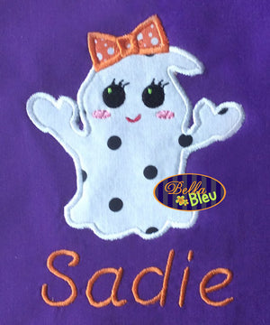 Halloween Ghost Girl with Bow Machine Applique Embroidery Design
