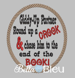 Giddy Up Cowboy Reading Book Pillow Saying machine Embroidery design Rope Western Frame