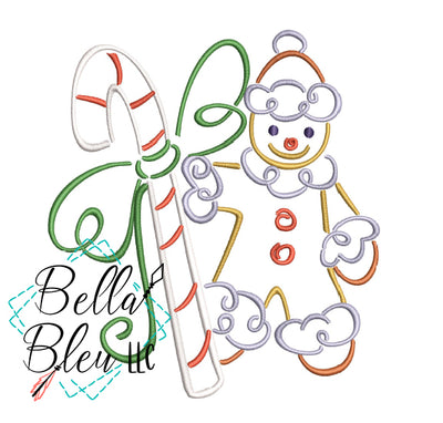 Christmas Gingerbread man Satin Swirl Machine Embroidery Design