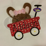 Peeking Easter bunny in red wagon