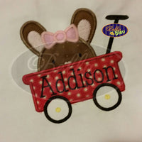 Adorable Easter Bunny Girl Rabbit Peeking in the little red wagon Applique Embroidery Design