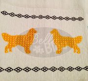 Faux Smocking Golden Retreiver Dog Machine Embroidery Design