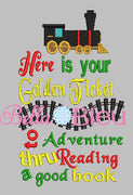 Inspired Polar Express Reading Pillow Golden Ticket Reading Adventure Train Machine Embroidery Design