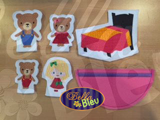 ITH in the hoop Goldilocks and the 3 three bears Finger Puppets Applique machine embroidery
