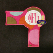 Stylist Blow Hair Dryer Monogram Applique Embroidery Design