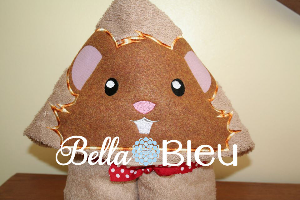 Hamster Hooded Towel Topper Peeker Machine Applique Embroidery Designs or Tee